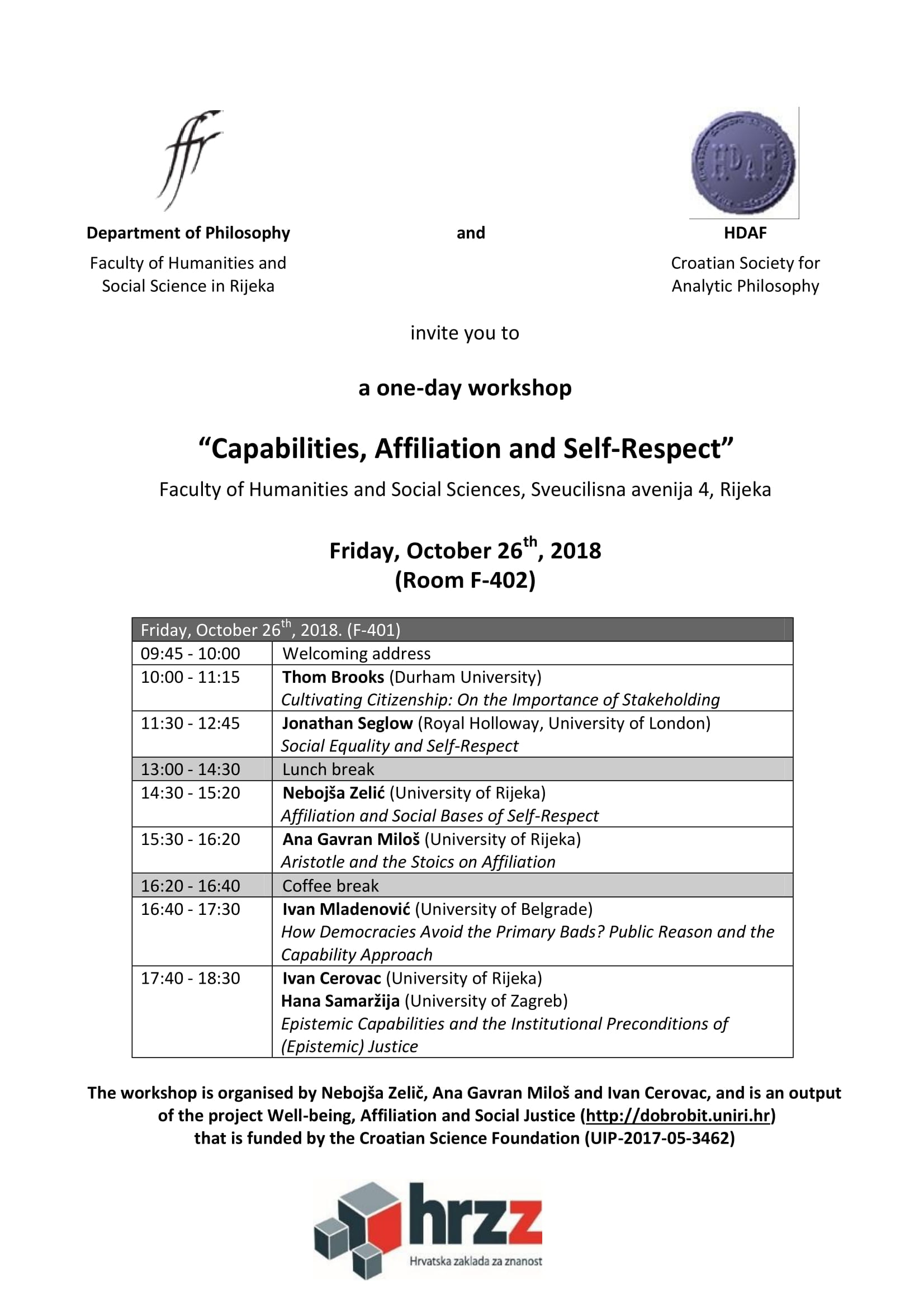 Workshop: 'Capabilities, Affiliation and Self-Respect'